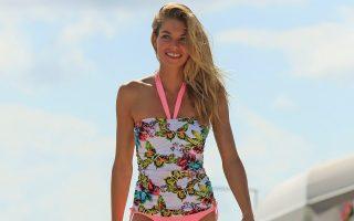 Jessica Hart wears a floral bikini while doing a photoshoot in South Beach, Florida