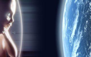 Το «παιδί των άστρων», από το φινάλε της ταινίας «2001: Οδύσσεια του Διαστήματος», ατενίζει τη Γη, πλέοντας στο Διάστημα, μέσα στον αμνιακό του σάκο.