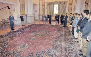 Με ρίζες ελληνικές, δυνατές, ενδυναμωμένες από το ταξίδι τους σε Ελλάδα και Κύπρο, οι Ελληνοαμερικανοί φοιτητές ακούν με προσοχή το μήνυμα του Προέδρου της Δημοκρατίας κ. Πρ. Παυλόπουλου, παρουσία του γεν. γραμματέα της Προεδρίας, πρέσβη κ. Γιώργου Γεννηματά.
