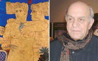 «O Aδάμ και η Eύα στην αυλή τους», όπως γράφει ο Aλέκος Φασιανός στο επάνω μέρος του πίνακα. Aκρυλικό σε καμβά, 90x62 (Αριστερά). O Aλέκος Φασιανός θα είναι παρών στα εγκαίνια. EΛMΠI