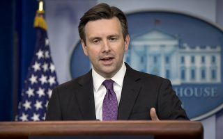 White House press secretary Josh Earnest discusses trade legislation during the daily news briefing at the White House in Washington, Friday, June 12, 2015. The House sidetracked a high-profile White House-backed trade bill on Friday, a blow to a pending Asian trade deal and a humiliating defeat for President Barack Obama inflicted by members of his own party. (AP Photo/Carolyn Kaster)