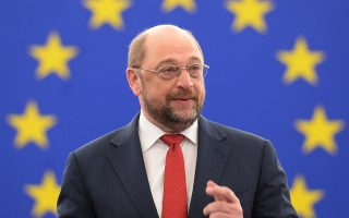 epa04054385 Martin Schulz, President of the European Parliament, delivers a speech in the European Parliament during a plenary session in Strasbourg, France, 04 February 2014.  EPA/PATRICK SEEGER