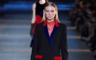 A model on the runway at Christopher Kane's fall 2015 womenswear show at Tate Modern.<P><noscript><img width=