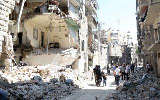 Στιγμιότυπο από το Χαλέπι, όπου σήμερα σκοτώθηκαν 18 άμαχοι μετά από πλήγμα πυραύλου εδάφους.