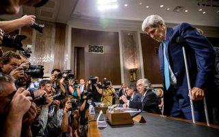 Ο υπουργός Εξωτερικών των ΗΠΑ Τζον Κέρι καταθέτει σε ακρόαση της Επιτροπής Εξωτερικών Σχέσεων της Γερουσίας στο Καπιτώλιο, σχετικά με τη συμφωνία για τα πυρηνικά του Ιράν.