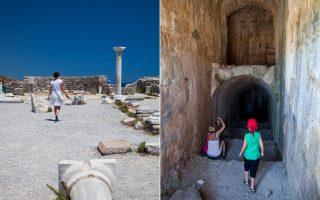 Αριστερά: Τα απομεινάρια των δύο παλαιοχριστιανικών βασιλικών στον Aγιο Στέφανο. Δεξιά: Το κάστρο της Νερατζιάς χτίστηκε από τους Ιωαννίτες Ιππότες και μαζί με εκείνο του Μπόντρουμ φύλασσαν το πέρασμα προς τους Αγίους Τόπους. (Φωτογραφίες: ΟΛΓΑ ΧΑΡΑΜΗ)