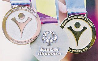 Τα μετάλλια των αγώνων Special Olympics για τους XIV Παγκόσμιους Αγώνες στο L.A. στις 25 Ιουλίου 2015.