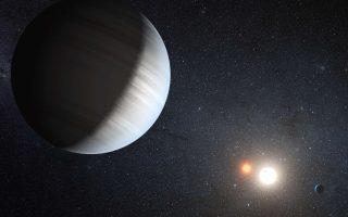 Καλλιτεχνική απεικόνιση του ηλιακού συστήματος «Κέπλερ-47», όπου δύο πλανήτες διατρέχουν τροχιά γύρω από δύο αστέρια. Το σύστημα που χαρτογράφησαν οι Βρετανοί αστρονόμοι είναι ακόμα πιο παράξενο.