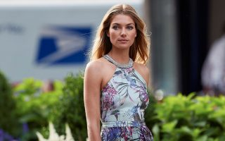 Jessica Hart seen wearing floral print dress and high heels while on location during a photoshoot in the Meatpacking District of NYC.<P><noscript><img width=