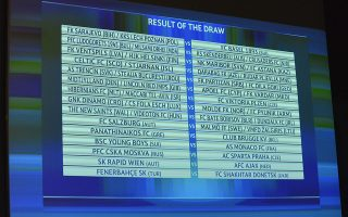 epa04850290 The draw result for the third qualifying round is pictured during the draw of the UEFA Champions League 2015/16 at the UEFA Headquarters in Nyon, Switzerland, 17 July 2015.  EPA/CHRISTIAN BRUN