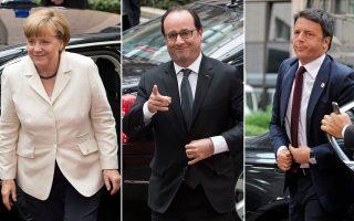 Η Γερμανίδα καγκελάριος Αγκελα Μέρκελ, ο Γάλλος πρόεδρος Φρανσουά Ολάντ και ο Ιταλός πρωθυπουργός Ματέο Ρέντσι.