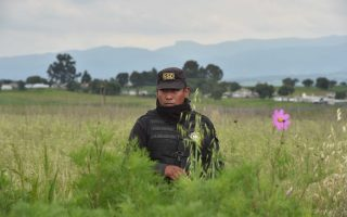 Ομοσπονδιακός αστυνομικός φρουρεί το σπίτι στο τέρμα της σήραγγας, από την οποία απέδρασε ο «Ελ Τσάπο», ο επονομαζόμενος «Κοντός» βαρώνος των ναρκωτικών.