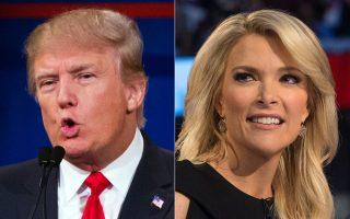 Φωτογραφίες του υποψηφίου για το χρίσμα των Ρεπουμπλικανών, Ντόναλντ Τραμπ (αριστερά), και της παρουσιάστριας του Fox, Μέγκιν Κέλι.