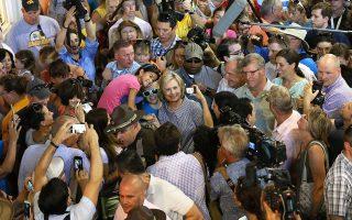 Σε υπαίθρια εκδήλωση στην Αϊόβα βρέθηκε το Σάββατο η Χίλαρι Κλίντον.