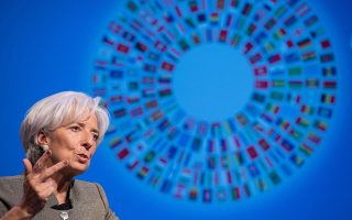International Monetary Fund (IMF) Managing Director Christine Lagarde speaks during a discussion on the global economy at the IMF/WB Spring Meetings in Washington, DC, on April 16, 2015.    AFP PHOTO/NICHOLAS KAMM