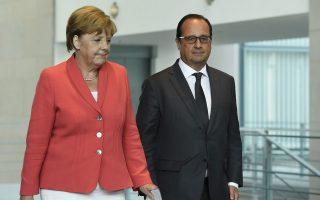 Στο Βερολίνο συναντήθηκαν χθες για το μεταναστευτικό η Γερμανίδα καγκελάριος Αγκελα Μέρκελ και ο Γάλλος πρόεδρος Φρανσουά Ολάντ.