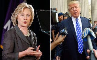 This combination of file photo shows Democratic presidential candidate Hillary Clinton(R) speaking at New York University in New York on July 24, 2015 and US Republican presidential candidate Donald Trump exiting the New York Supreme Court after morning jury duty on August 17, 2015 in New York. Trump is growing increasingly competitive in a general election matchup against Hillary Clinton, trailing the Democratic frontrunner by six points in a August 19, 2015 poll that shows the race tightening. Trump leads the broad Republican field by double digits. The political neophyte has dominated media coverage since he launched his campaign in June, steadily narrowing the gap against Clinton, according to a CNN/ORC poll which has tracked such matchups for months.   AFP PHOTO / KENA BETANCUR(Right) / DON EMMERT(Left)