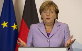 German Chancellor Angela Merkel speaks during a press conference in Bern, Switzerland, Thursday, Sept.3, 2015. Chancellor Merkel is on an one day official visit in Switzerland to discuss bilateral issues and the relationship between Switzerland and the EU.  (Lukas Lehmann/Keystone via AP)