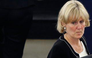 Η Ναντίν Μορανό στο Ευρωκοινοβούλιο με μία από τις εκφράσεις του προσώπου της που την κατέστησαν αντικείμενο χλεύης στη Γαλλία.