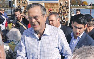 Ο Ρεπουμπλικανός υποψήφιος Τζεμπ Μπους σε επίσκεψή του στο Νιου Χαμσάιρ.