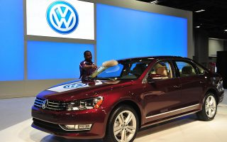 (FILES) This January 27, 2011 file photo shows the Volkswagen Passat TDI clean diesel car on display at the 2011 Washington Auto Show at the Washington Convention Center in Washington, DC.  German authorities announced on October 15, 2015 they order VW to recall diesel vehicles in emission scandal. AFP PHOTO / Karen BLEIER