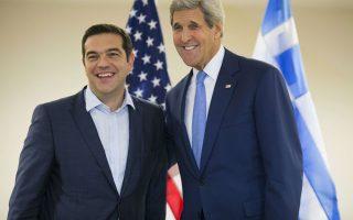 Στην Αθήνα θα βρεθεί τον Νοέμβριο και ο υπουργός Εξωτερικών των ΗΠΑ Τζον Κέρι (η φωτ. από τη συνάντησή του με τον Ελληνα πρωθυπουργό Αλ. Τσίπρα στις ΗΠΑ).