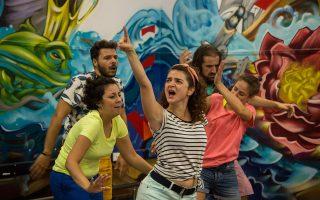 Η ομάδα ηθοποιών του «Γλάρου»: Αντρη Θεοδότου, Κων. Καϊκής, Μαρία Μοσχούρη, Θεοδώρα Ντούσκα, Ου. Χανικιάν.