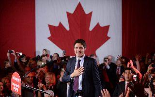 Συγκινημένος εμφανίσθηκε χθες ο ηγέτης των Φιλελευθέρων του Καναδά και εντολοδόχος πλέον πρωθυπουργός της χώρας, Τζάστιν Τριντό, στο αρχηγείο του κόμματος στο Μόντρεαλ, μετά την ανακοίνωση του αποτελέσματος των εκλογών, που δίνουν στο κόμμα του την πλειοψηφία των εδρών της ομοσπονδιακής Βουλής.