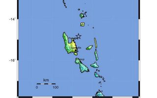 epa04986121 A shakemap released by the US Geological Survey (USGS) on 20 October 2015 shows the location where a preliminary 7.1 magnitude earthquake hit off the coast of Vanuatu on 20 October. No tsunami warnings were issued for the earthquake.  EPA/USGS /  HANDOUT  HANDOUT EDITORIAL USE ONLY