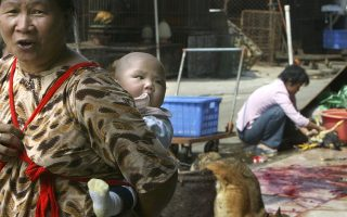 A woman carrying her baby walks past dead dogs at a market in the Baiyun district of China's southern city of Guangzhou October 20, 2003. Health experts have warned that wild game markets like this one may be the source of the next SARS epidemic which many fear will emerge this winter, but traders and workers here could not be more oblivious. Picture taken October 20, 2003.  TO ACCOMPANY FEATURE SARS CHINA MARKET   REUTERS/Kin Cheung
