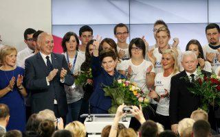 Η Μπεάτα Σζίντλο γιορτάζει τη νίκη του κόμματος PiS και την ανάδειξή της στην πρωθυπουργία της Πολωνίας.