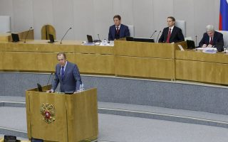 Ο Ρώσος υπουργός Εξωτερικών Σεργκέι Λαβρόφ ενημερώνει τη Δούμα (Βουλή) για τις εξελίξεις στο συριακό πρόβλημα και τις σχέσεις μεταξύ Μόσχας - Ουάσιγκτον.