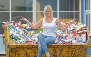 Suzanne Shaw, formerly of band Hear'Say and the TV programme Popstars, visiting St Elizabeth's Primary School in Manchester where she was encouraging pupils to ditch junk food like crisps and chocolate bars and eat a healthy cereal instead.<P><noscript><img width=