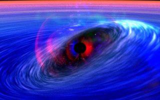 Φανταστική απεικόνιση μαύρης τρύπας στο σύμπαν. Στο κέντρο της, φωλιάζει μια «βαρυτική ανωμαλία» - ένα σημείο άπειρης, παράλογης πυκνότητας.