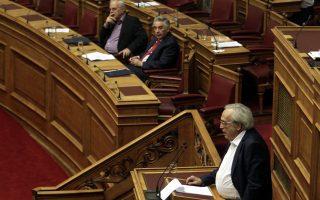 Ο υπουργός Πολιτισμού, κ. Αρ. Μπαλτάς κατά την παρουσίαση των προγραμ- ματικών θέσεων του υπουργείου του στο Κοινοβούλιο.