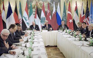 Κέρι, Λαβρόφ και Σταϊνμάγερ διακρίνονται μεταξύ των υπουργών Εξωτερικών 17 κρατών, κατά τη διεθνή συνάντηση που πραγματοποιήθηκε την περασμένη Παρασκευή στη Βιέννη για το συριακό πρόβλημα.