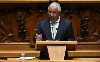 Ο ηγέτης των Σοσιαλιστών Αντόνιο Κόστα κατά την ομιλία του στην πορτογαλική Βουλή.