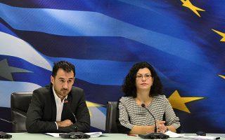 Ο υφυπουργός Οικονομίας αρμόδιος για θέματα ΕΣΠΑ, Αλέξης Χαρίτσης και η πρόεδρος του ΟΑΕΔ, Μαρία Καραμεσίνη.