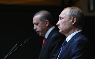 2536327 12/01/2014 December 1, 2014. Russian President Vladimir Putin, left, and President of Turkey Recep Tayyip Erdogan at the concluding news conference in Ankara. Michael Klimentyev/RIA Novosti