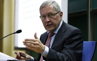 epa04781472 Klaus Regling, Managing Director of the European Stability Mechanism (ESM), delivers a statement at Tsinghua University in Beijing, China, 03 June 2015. Regling spoke on the role of ESM in terms of assistance to Euro area member states.  EPA/ROLEX DELA PENA