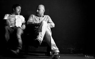Ο Θανάσης Τσαλταμπάσης με τον σκηνοθέτη Τσέζαρις Γκραουζίνις.