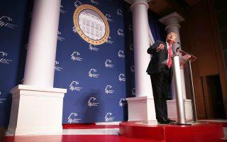Ο Ντόναλντ Τραμπ κατά τη διάρκεια της ομιλίας του στη Ρεπουμπλικανική Εβραϊκή Συμμαχία στην Ουάσιγκτον την Πέμπτη.