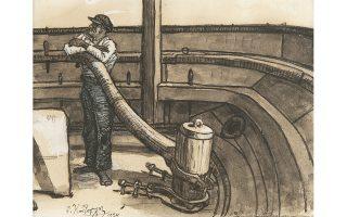 «Ναυτική Σκηνή», σχετικά πρώιμο έργο του Φώτη Κόντογλου (1924), παρουσιάζεται για πρώτη φορά δημόσια. Από ιδιωτική συλλογή.