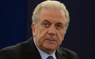 epa04757728 European commissioner for migration and home affairs Dimitris Avramopoulos prepares for his speech about the European Agenda on Migration in the plenary session at the European Parliament in Strasbourg, France, 20 May 2015.  EPA/Patrick Seeger