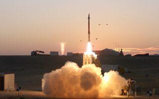 Εκτόξευση πυραύλου αναχαίτισης στο πλαίσιο δοκιμής της «Σφεντόνας του Δαβίδ». Βασικός στόχος του συστήματος, οι πύραυλοι μέσου βεληνεκούς της λιβανέζικης οργάνωσης Χεζμπολάχ.