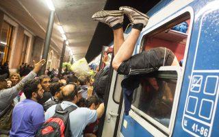 Πρόσφυγες στους ουγγρικούς σιδηροδρόμους τον Σεπτέμβριο.