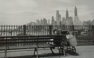 Νεαρή μητέρα διαβάζει στο Brooklyn Heights Promenade