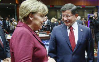 Η Αγκελα Μέρκελ και ο Αχμέτ Νταβούτογλου. Η Γερμανίδα καγκελάριος πίεσε τους Ευρωπαίους εταίρους για την έναρξη των ενταξιακών διαπραγματεύσεων της Τουρκίας, ωστόσο η Λευκωσία προέβαλε αντιστάσεις.