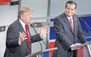 Σε μάχη ανάμεσα στον επικρατέστερο Ντόναλντ Τραμπ (αριστερά) και τον Τεντ Κρουζ εξελίσσεται η καμπάνια για το χρίσμα των Ρεπουμπλικανών.