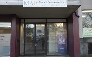 This photo shows the Muslim Association of Canada Center in Vancouver, British Columbia, Saturday, Jan. 9, 2016. Canadian Prime Minister Justin Trudeau is condemning the pepper spraying of a group of Syrian refugees in Vancouver at the center, which police are treating as a hate crime. Police said the incident happened Friday night when people had gathered outside the center during a